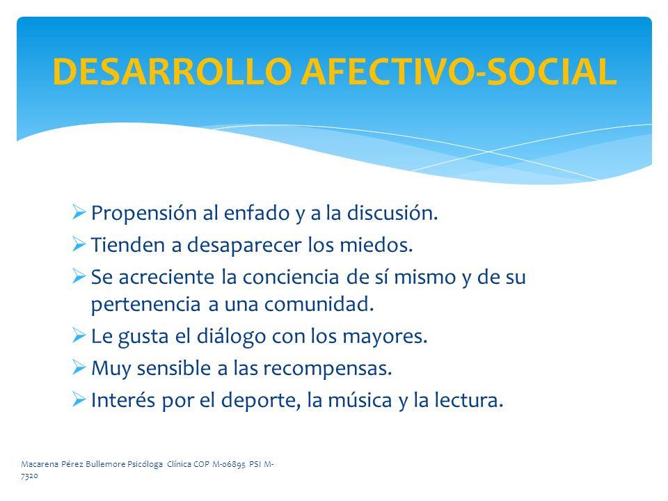 DESARROLLO AFECTIVO-SOCIAL Propensión al enfado y a la discusión. Tienden a desaparecer los miedos. Se acreciente la conciencia de sí mismo y de su pe
