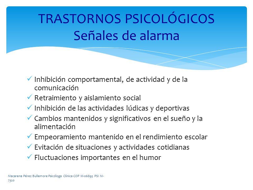 Inhibición comportamental, de actividad y de la comunicación Retraimiento y aislamiento social Inhibición de las actividades lúdicas y deportivas Camb