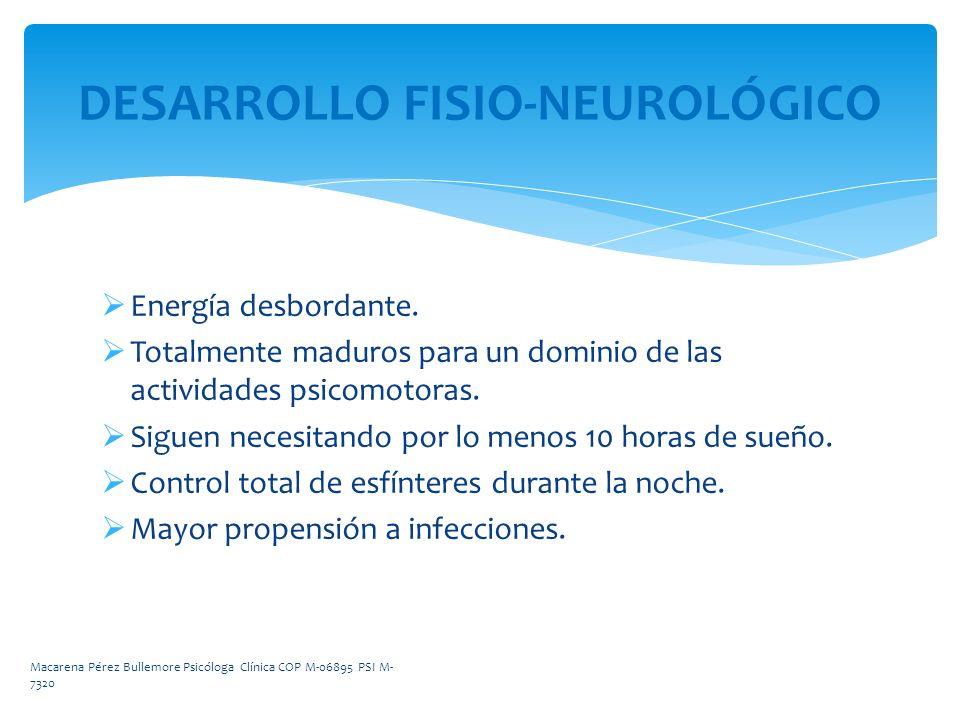 DESARROLLO FISIO-NEUROLÓGICO Energía desbordante. Totalmente maduros para un dominio de las actividades psicomotoras. Siguen necesitando por lo menos
