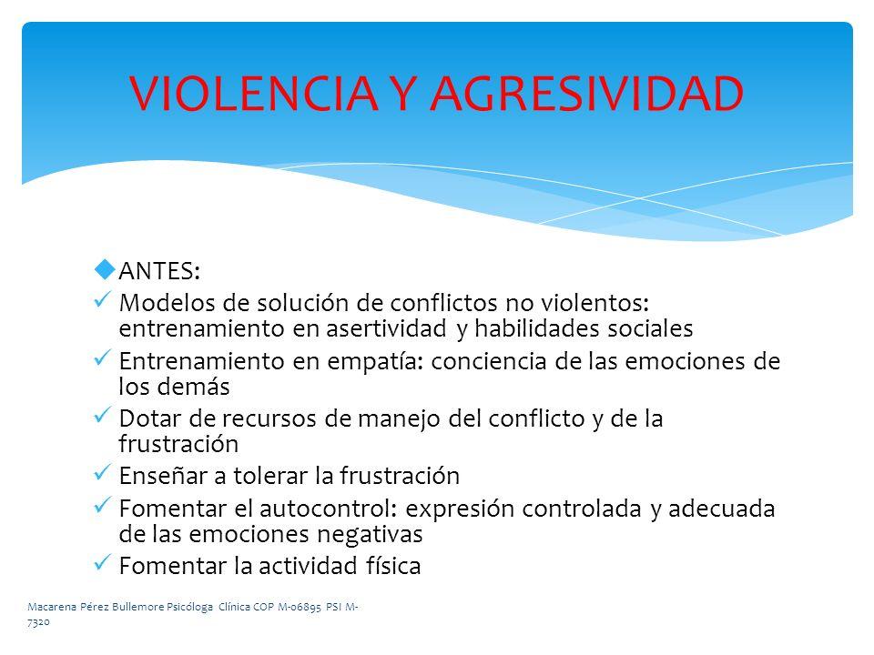 ANTES: Modelos de solución de conflictos no violentos: entrenamiento en asertividad y habilidades sociales Entrenamiento en empatía: conciencia de las