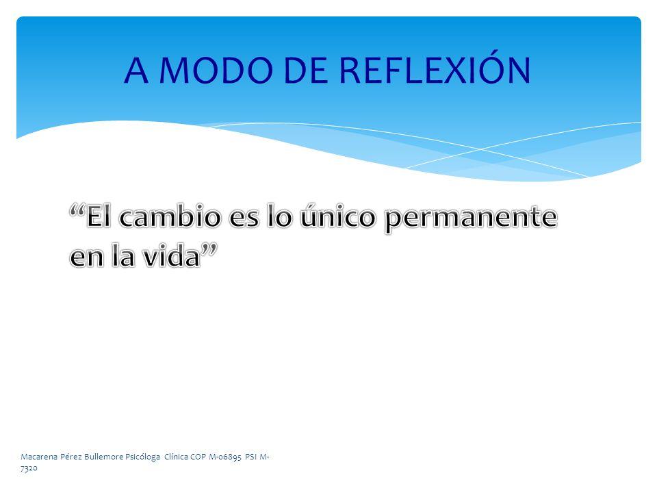A MODO DE REFLEXIÓN Macarena Pérez Bullemore Psicóloga Clínica COP M-06895 PSI M- 7320
