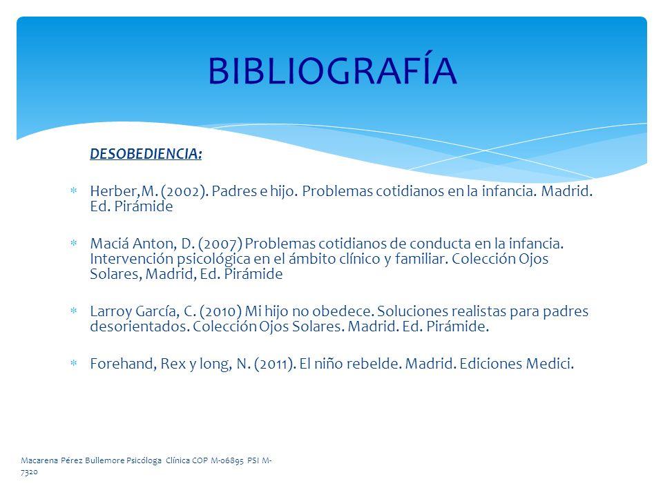 DESOBEDIENCIA: Herber,M. (2002). Padres e hijo. Problemas cotidianos en la infancia. Madrid. Ed. Pirámide Maciá Anton, D. (2007) Problemas cotidianos