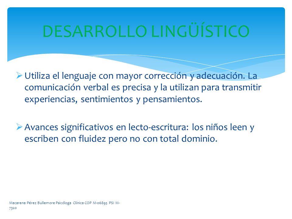 DESARROLLO LINGÜÍSTICO Utiliza el lenguaje con mayor corrección y adecuación. La comunicación verbal es precisa y la utilizan para transmitir experien
