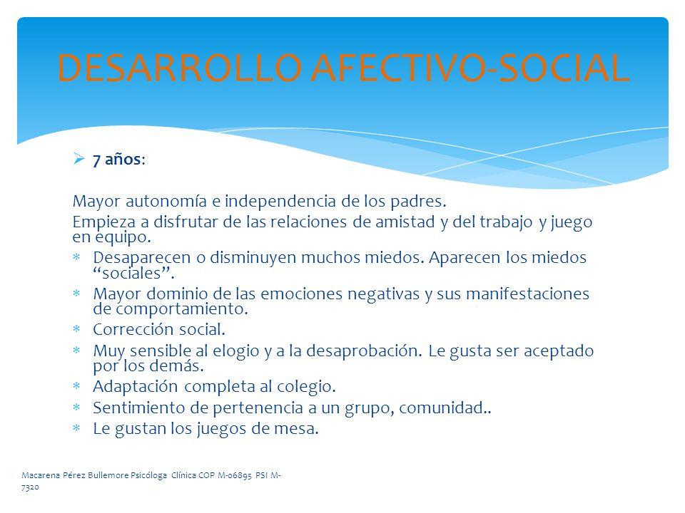 DESARROLLO AFECTIVO-SOCIAL 7 años: Mayor autonomía e independencia de los padres. Empieza a disfrutar de las relaciones de amistad y del trabajo y jue