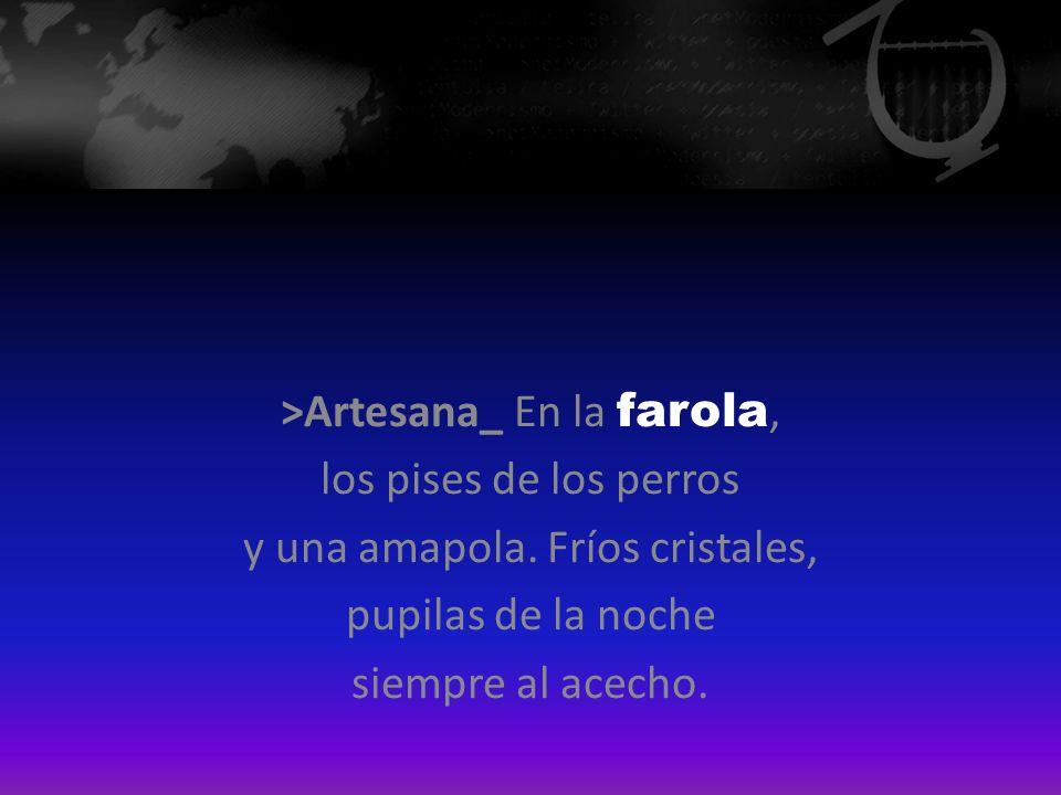 >Artesana_ En la farola, los pises de los perros y una amapola. Fríos cristales, pupilas de la noche siempre al acecho.