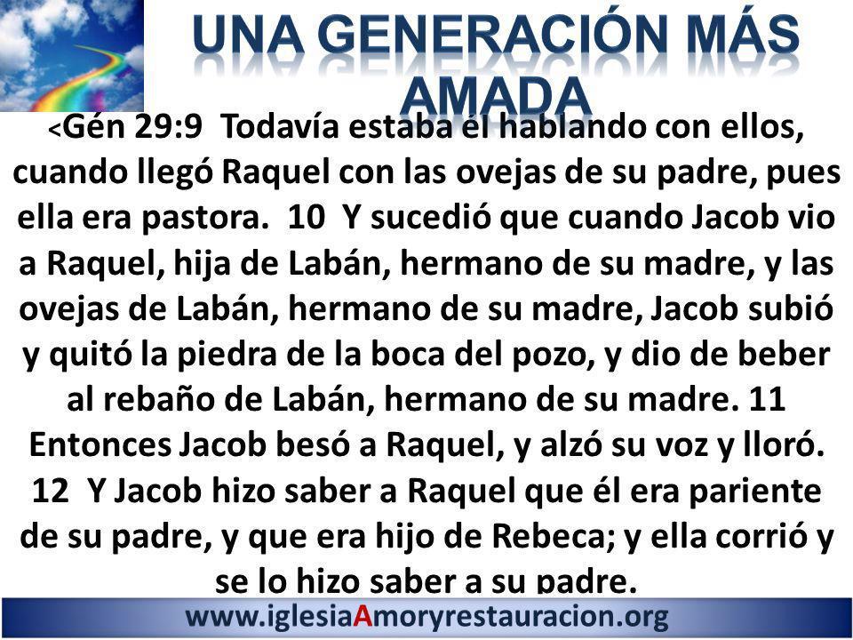 < Gén 29:9 Todavía estaba él hablando con ellos, cuando llegó Raquel con las ovejas de su padre, pues ella era pastora. 10 Y sucedió que cuando Jacob