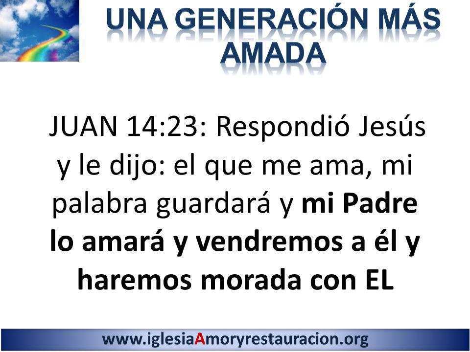 JUAN 14:23: Respondió Jesús y le dijo: el que me ama, mi palabra guardará y mi Padre lo amará y vendremos a él y haremos morada con EL