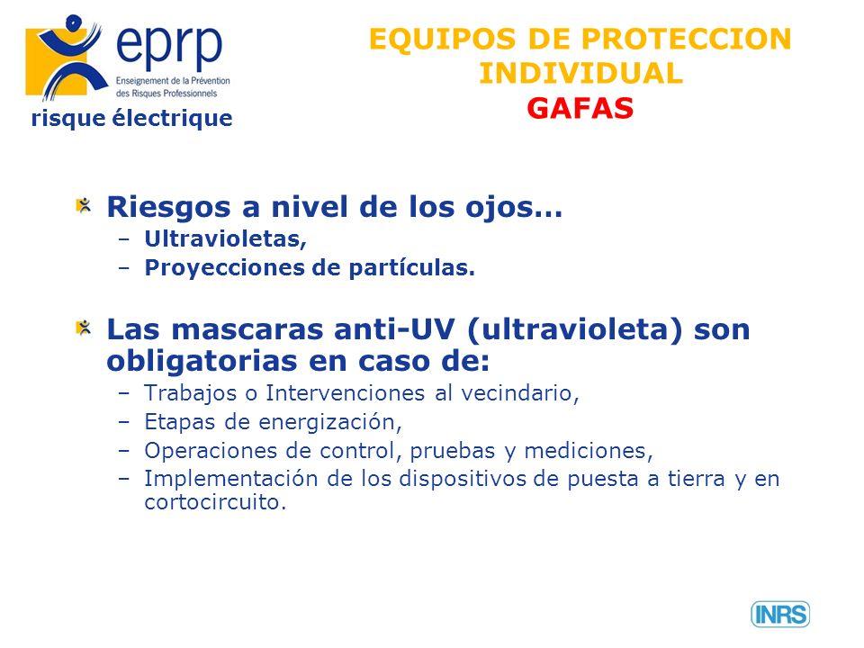 risque électrique Riesgos a nivel de los ojos… –Ultravioletas, –Proyecciones de partículas. Las mascaras anti-UV (ultravioleta) son obligatorias en ca