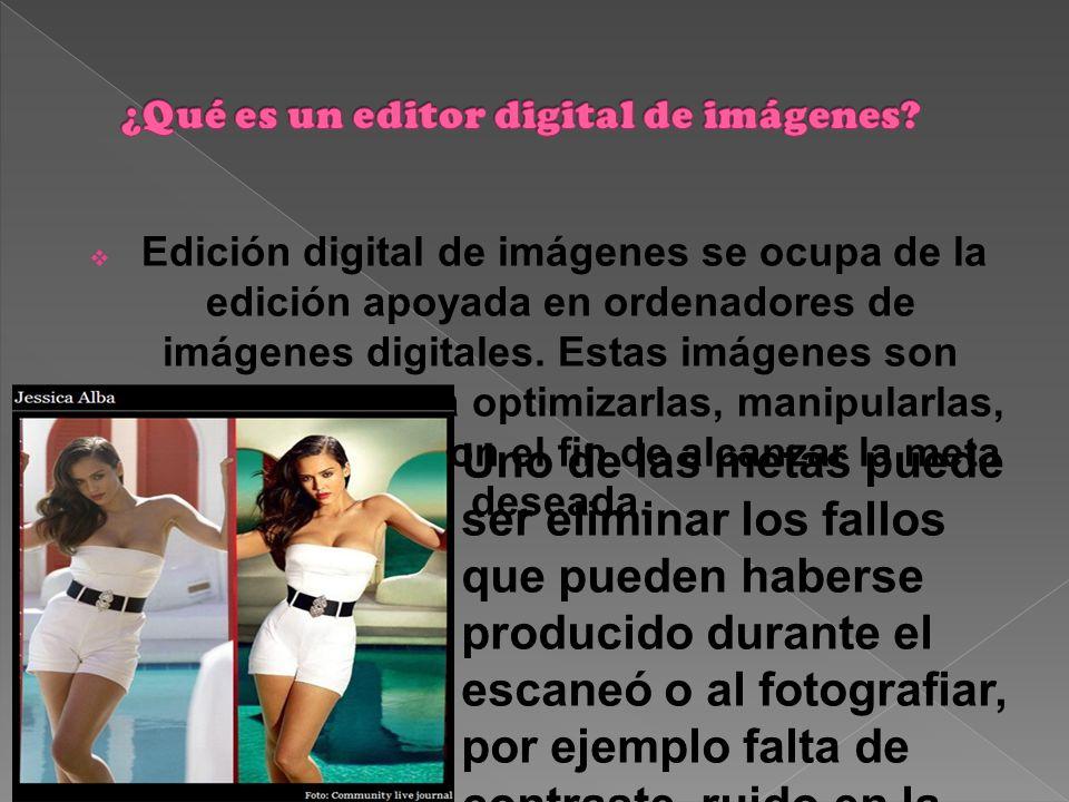 Edición digital de imágenes se ocupa de la edición apoyada en ordenadores de imágenes digitales.