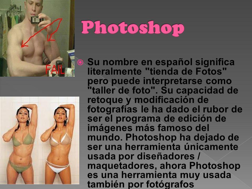 Su nombre en español significa literalmente tienda de Fotos pero puede interpretarse como taller de foto .