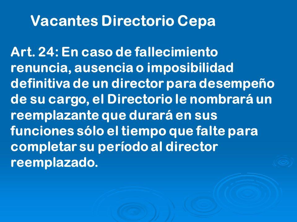 Art. 24: En caso de fallecimiento renuncia, ausencia o imposibilidad definitiva de un director para desempeño de su cargo, el Directorio le nombrará u