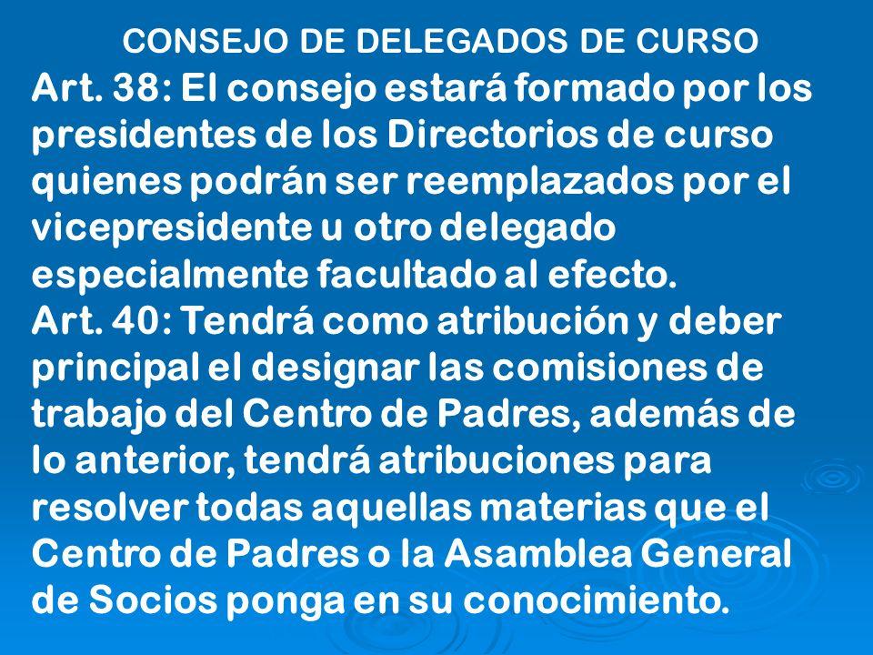 Art. 38: El consejo estará formado por los presidentes de los Directorios de curso quienes podrán ser reemplazados por el vicepresidente u otro delega