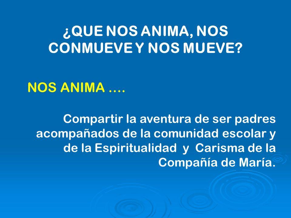 ¿QUE NOS ANIMA, NOS CONMUEVE Y NOS MUEVE. NOS ANIMA ….