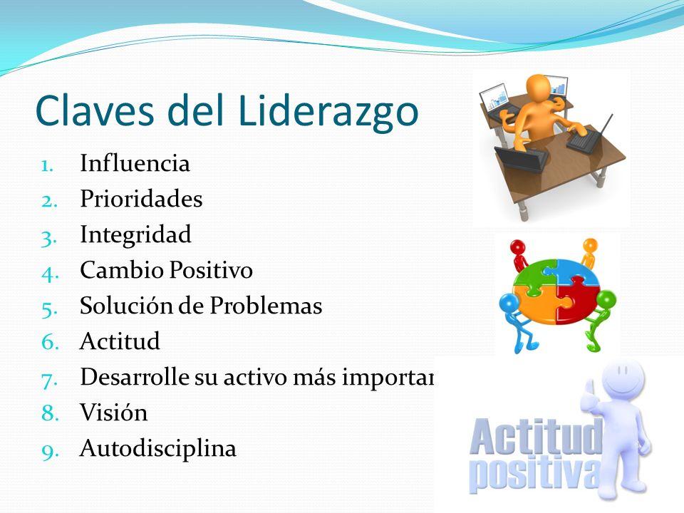 Claves del Liderazgo 1. Influencia 2. Prioridades 3. Integridad 4. Cambio Positivo 5. Solución de Problemas 6. Actitud 7. Desarrolle su activo más imp