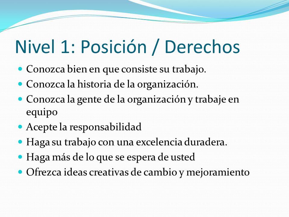 Nivel 1: Posición / Derechos Conozca bien en que consiste su trabajo. Conozca la historia de la organización. Conozca la gente de la organización y tr