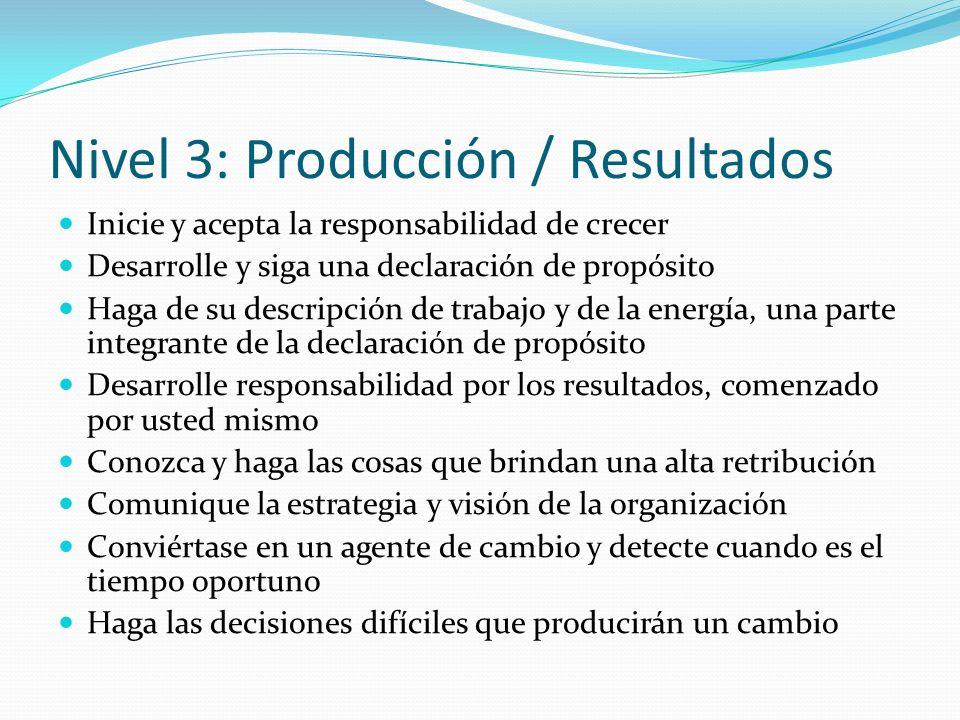 Nivel 3: Producción / Resultados Inicie y acepta la responsabilidad de crecer Desarrolle y siga una declaración de propósito Haga de su descripción de