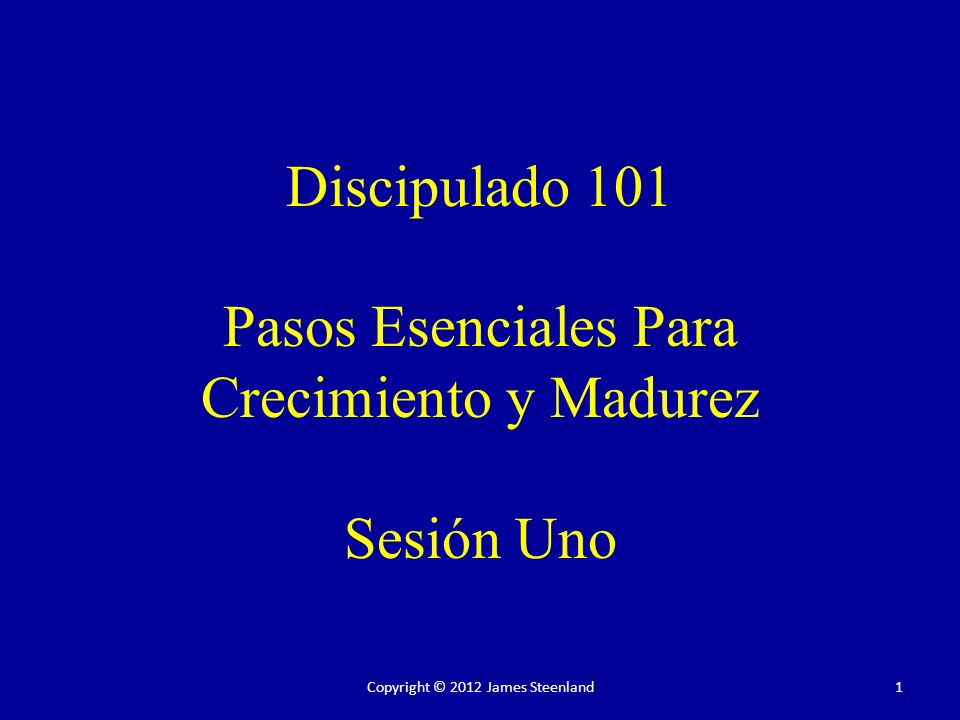 Discipulado 101 Pasos Esenciales Para Crecimiento y Madurez Sesión Uno 1Copyright © 2012 James Steenland