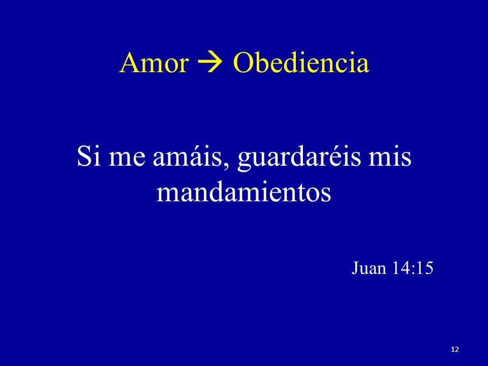 Amor Obediencia Si me amáis, guardaréis mis mandamientos Juan 14:15 12