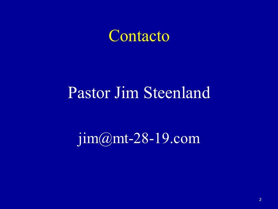 Contacto Pastor Jim Steenland jim@mt-28-19.com 2