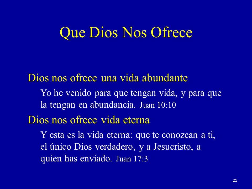 Que Dios Nos Ofrece Dios nos ofrece una vida abundante Yo he venido para que tengan vida, y para que la tengan en abundancia.