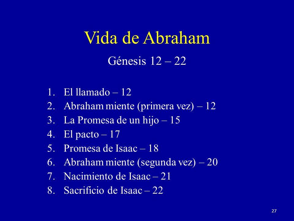 Génesis 12 – 22 1.El llamado – 12 2.Abraham miente (primera vez) – 12 3.La Promesa de un hijo – 15 4.El pacto – 17 5.Promesa de Isaac – 18 6.Abraham miente (segunda vez) – 20 7.Nacimiento de Isaac – 21 8.Sacrificio de Isaac – 22 Vida de Abraham 27