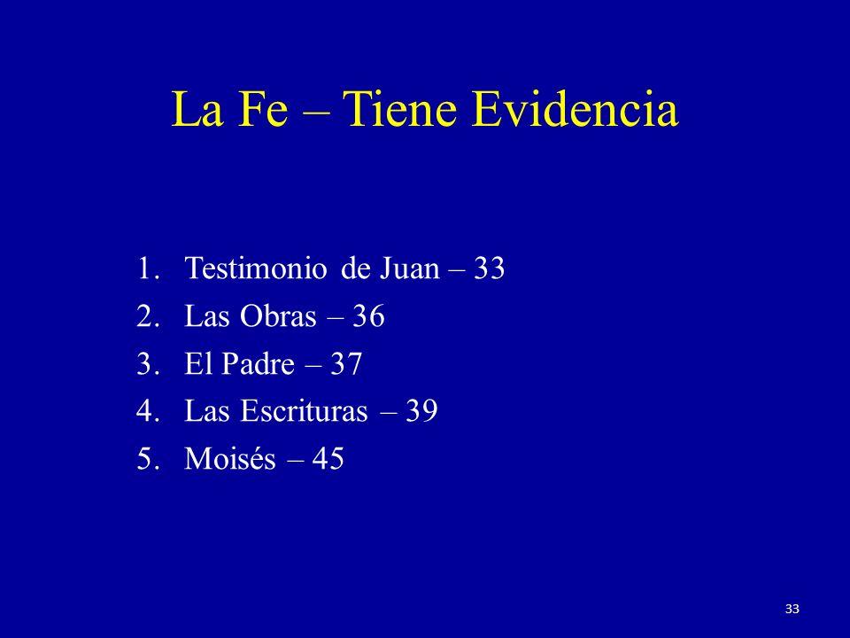 1.Testimonio de Juan – 33 2.Las Obras – 36 3.El Padre – 37 4.Las Escrituras – 39 5.Moisés – 45 La Fe – Tiene Evidencia 33