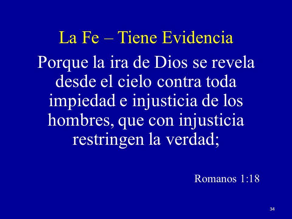 Porque la ira de Dios se revela desde el cielo contra toda impiedad e injusticia de los hombres, que con injusticia restringen la verdad; Romanos 1:18 La Fe – Tiene Evidencia 34