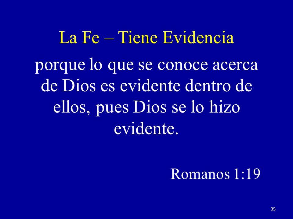 porque lo que se conoce acerca de Dios es evidente dentro de ellos, pues Dios se lo hizo evidente. Romanos 1:19 La Fe – Tiene Evidencia 35