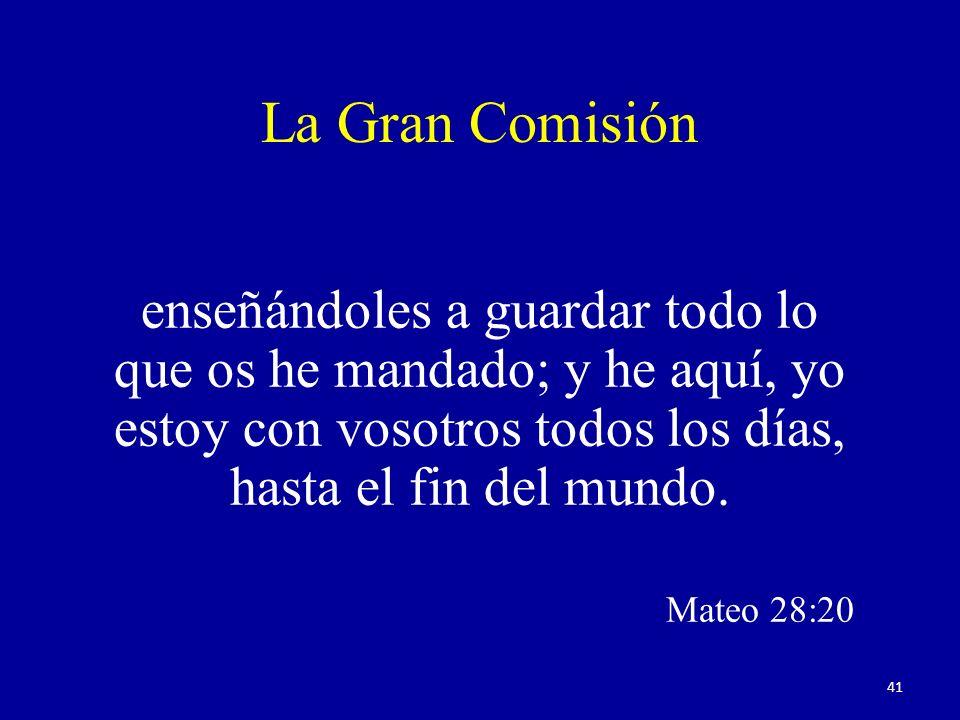 La Gran Comisión enseñándoles a guardar todo lo que os he mandado; y he aquí, yo estoy con vosotros todos los días, hasta el fin del mundo. Mateo 28:2