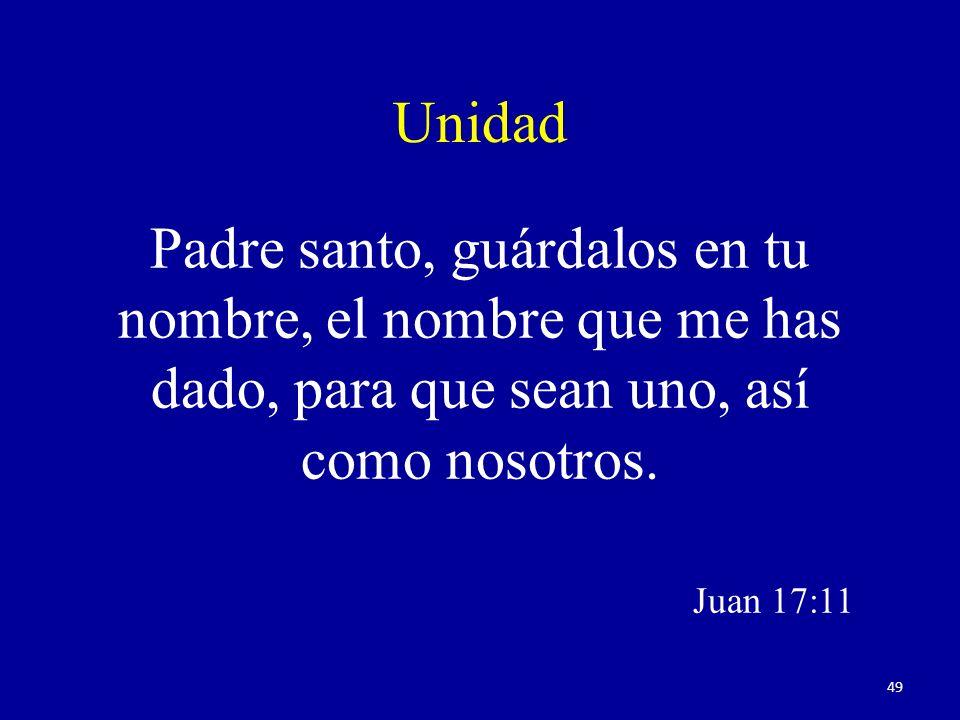 Unidad Padre santo, guárdalos en tu nombre, el nombre que me has dado, para que sean uno, así como nosotros.