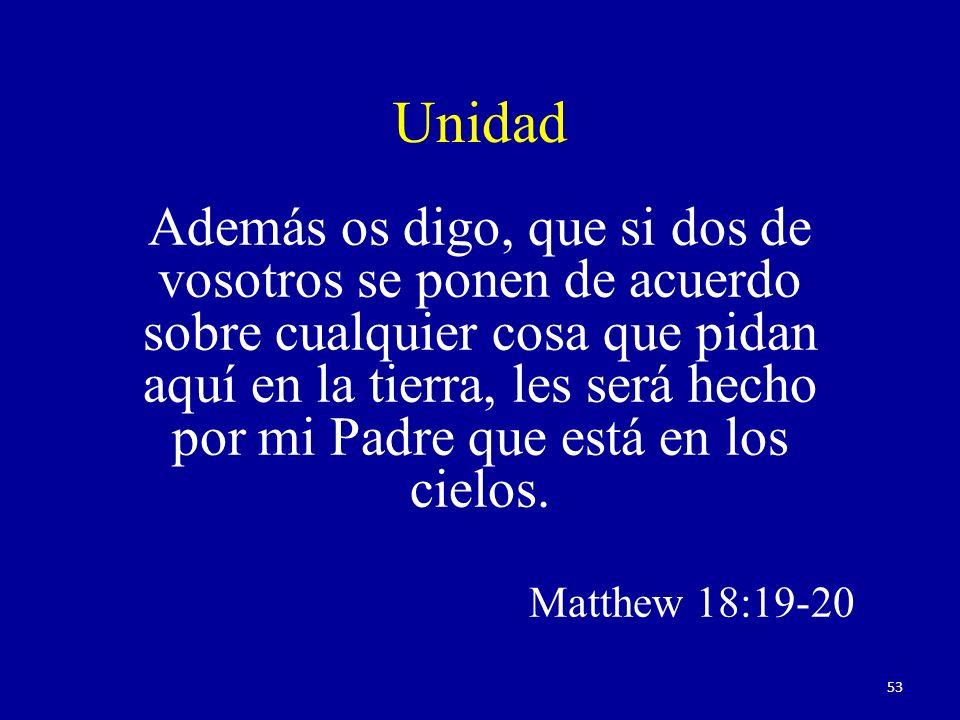 Unidad Además os digo, que si dos de vosotros se ponen de acuerdo sobre cualquier cosa que pidan aquí en la tierra, les será hecho por mi Padre que está en los cielos.