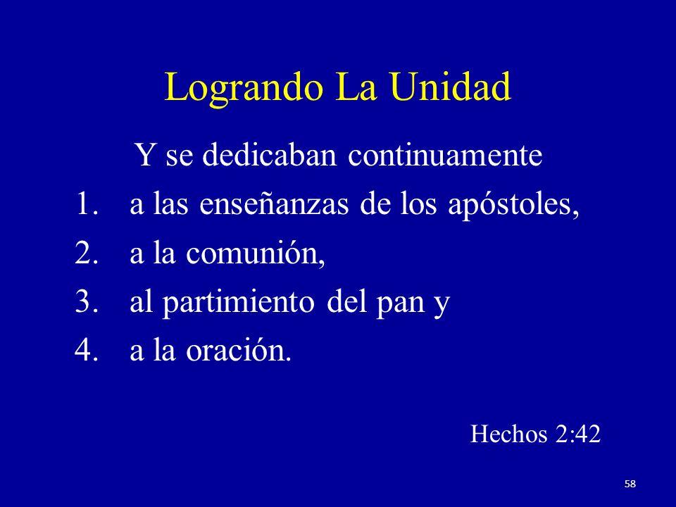 Logrando La Unidad Y se dedicaban continuamente 1.a las enseñanzas de los apóstoles, 2.a la comunión, 3.al partimiento del pan y 4.a la oración. Hecho