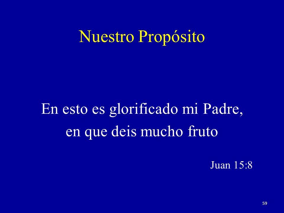 Nuestro Propósito En esto es glorificado mi Padre, en que deis mucho fruto Juan 15:8 59