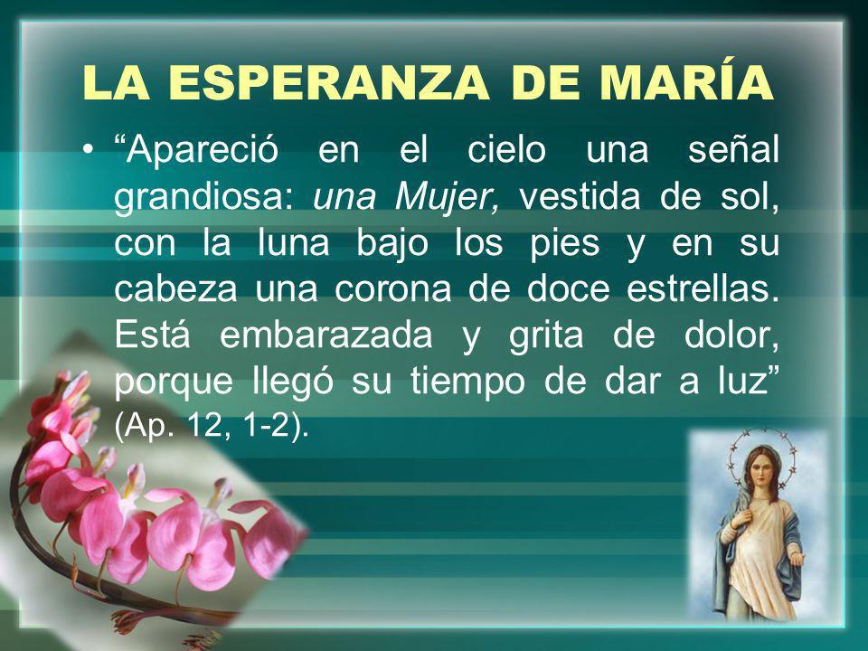 LA ESPERANZA DE MARÍA Apareció en el cielo una señal grandiosa: una Mujer, vestida de sol, con la luna bajo los pies y en su cabeza una corona de doce