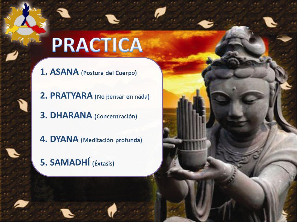 1. ASANA (Postura del Cuerpo) 2. PRATYARA (No pensar en nada) 3. DHARANA (Concentración) 4. DYANA (Meditación profunda) 5. SAMADHÍ (Éxtasis)