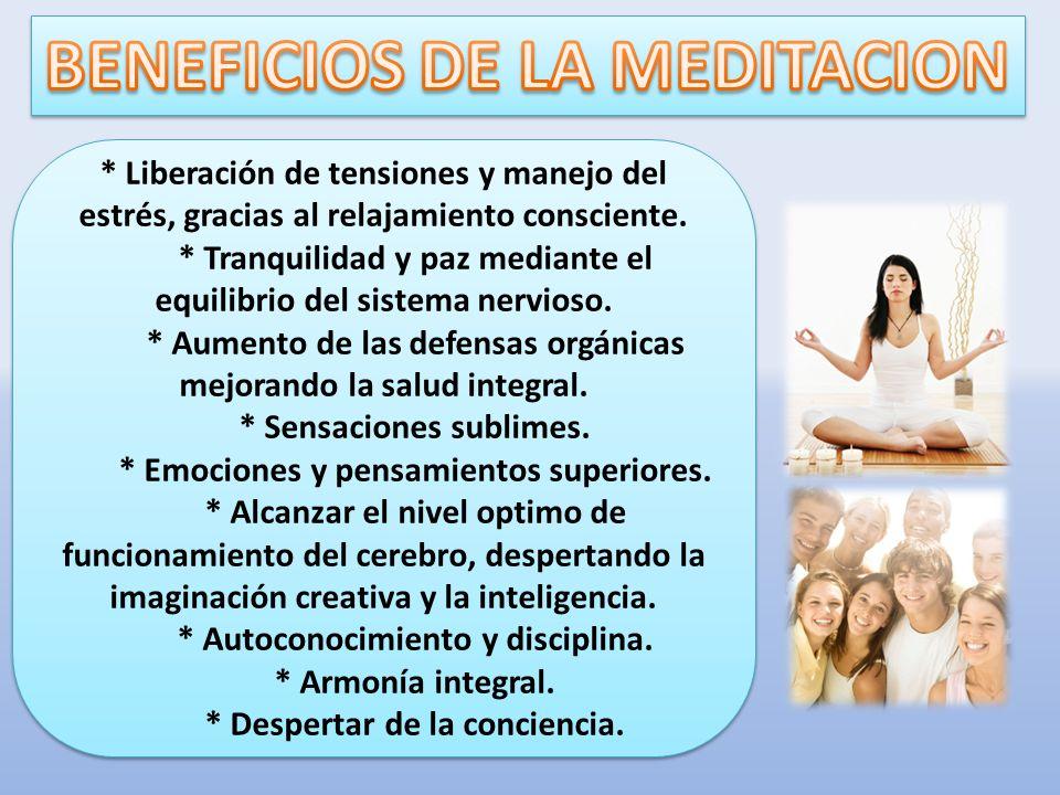 * Liberación de tensiones y manejo del estrés, gracias al relajamiento consciente. * Tranquilidad y paz mediante el equilibrio del sistema nervioso. *