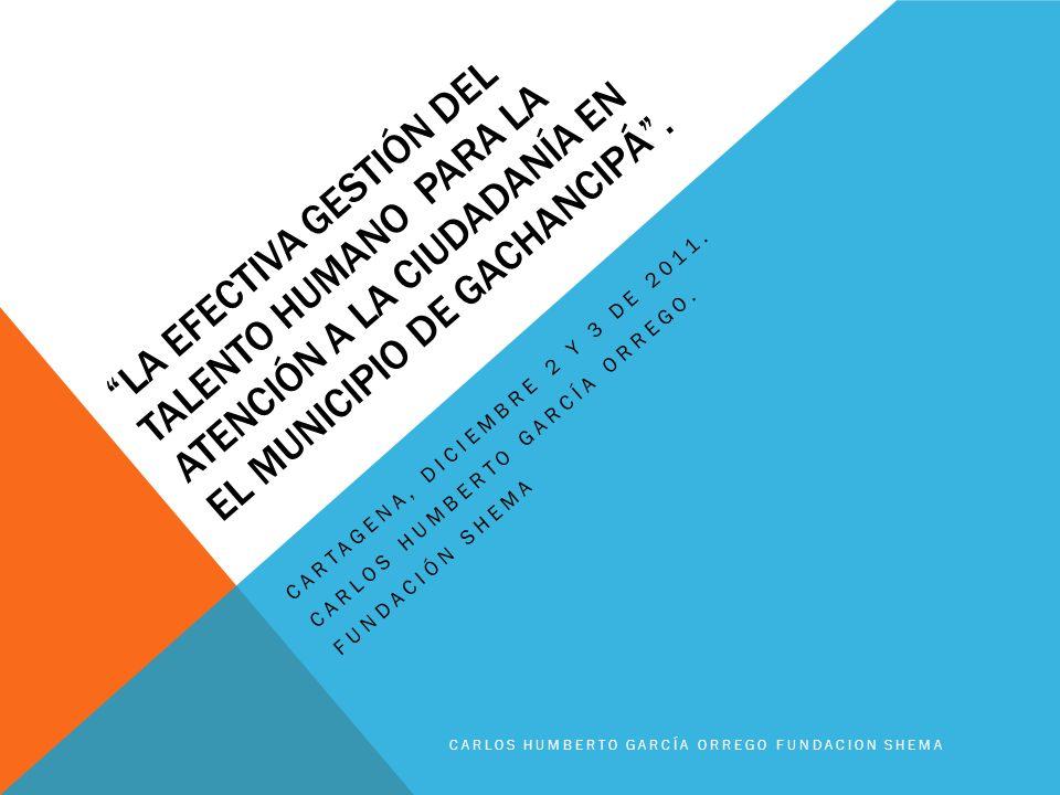 LA EFECTIVA GESTIÓN DEL TALENTO HUMANO PARA LA ATENCIÓN A LA CIUDADANÍA EN EL MUNICIPIO DE GACHANCIPÁ. CARTAGENA, DICIEMBRE 2 Y 3 DE 2011. CARLOS HUMB