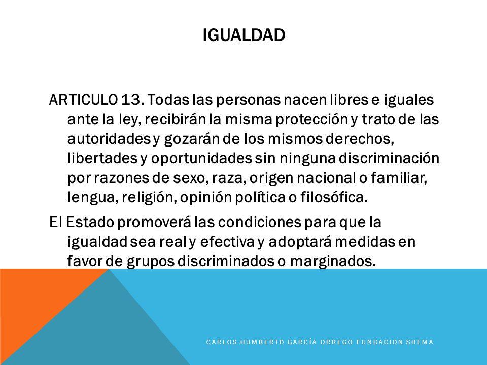IGUALDAD ARTICULO 13. Todas las personas nacen libres e iguales ante la ley, recibirán la misma protección y trato de las autoridades y gozarán de los