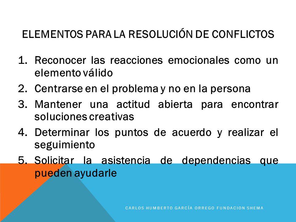 ELEMENTOS PARA LA RESOLUCIÓN DE CONFLICTOS 1.Reconocer las reacciones emocionales como un elemento válido 2.Centrarse en el problema y no en la person