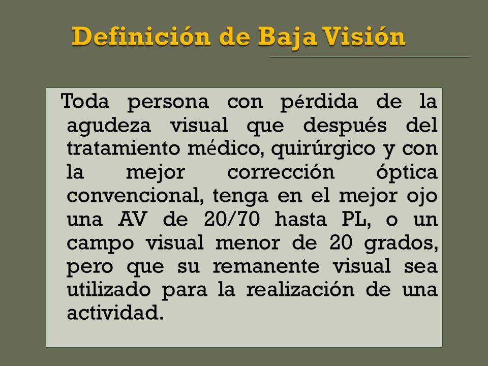 Toda persona con p é rdida de la agudeza visual que después del tratamiento m é dico, quirúrgico y con la mejor corrección óptica convencional, tenga en el mejor ojo una AV de 20/70 hasta PL, o un campo visual menor de 20 grados, pero que su remanente visual sea utilizado para la realización de una actividad.