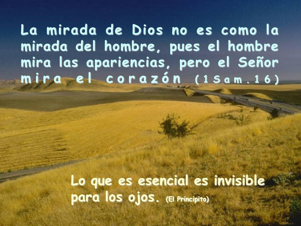 La mirada de Dios no es como la mirada del hombre, pues el hombre mira las apariencias, pero el Señor mira el corazón (1Sam.16) Lo que es esencial es invisible para los ojos.