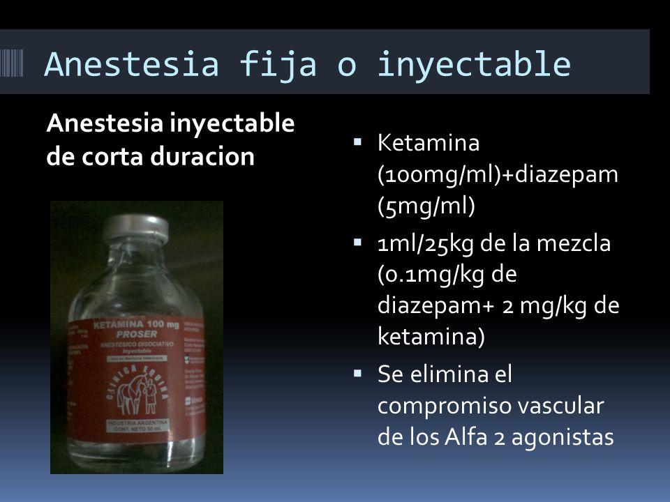 Anestesia fija o inyectable Anestesia inyectable de corta duracion Ketamina (100mg/ml)+diazepam (5mg/ml) 1ml/25kg de la mezcla (0.1mg/kg de diazepam+