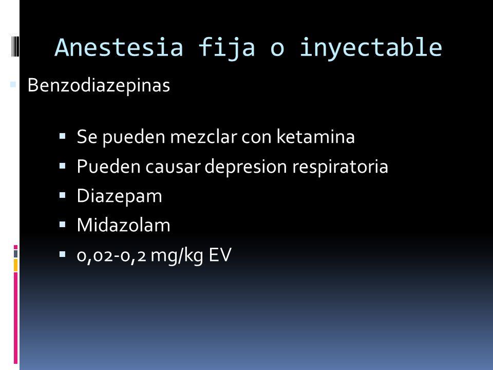 Anestesia fija o inyectable Se pueden mezclar con ketamina Pueden causar depresion respiratoria Diazepam Midazolam 0,02-0,2 mg/kg EV Benzodiazepinas