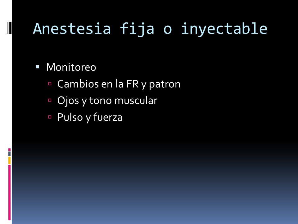 Anestesia fija o inyectable Monitoreo Cambios en la FR y patron Ojos y tono muscular Pulso y fuerza
