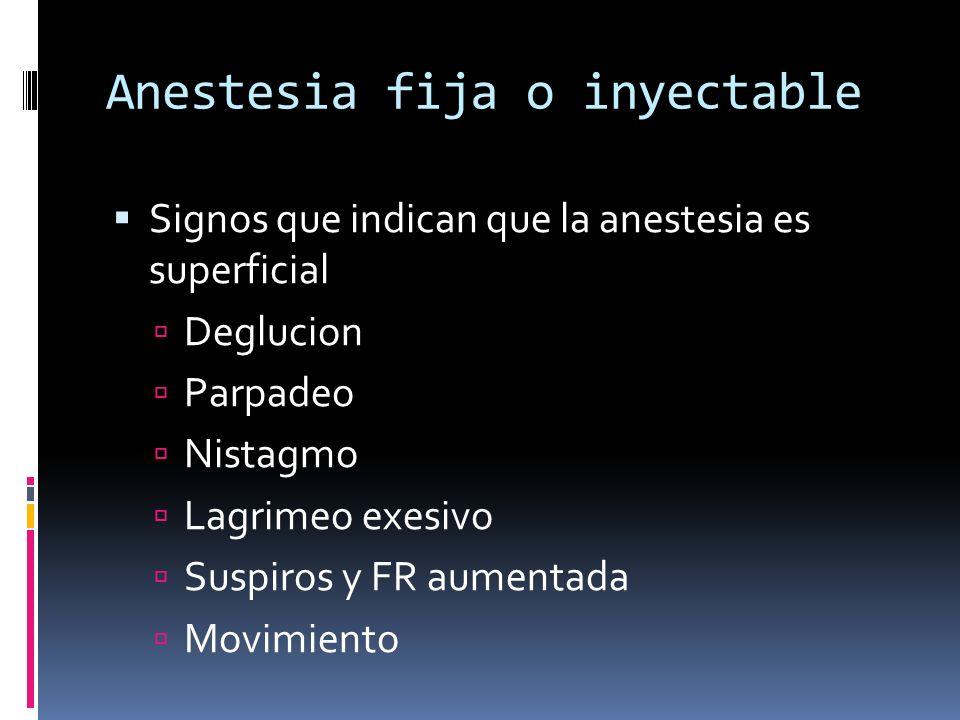 Anestesia fija o inyectable Signos que indican que la anestesia es superficial Deglucion Parpadeo Nistagmo Lagrimeo exesivo Suspiros y FR aumentada Mo