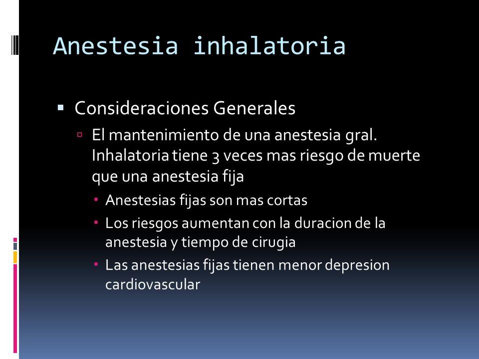 Anestesia inhalatoria Consideraciones Generales El mantenimiento de una anestesia gral. Inhalatoria tiene 3 veces mas riesgo de muerte que una anestes