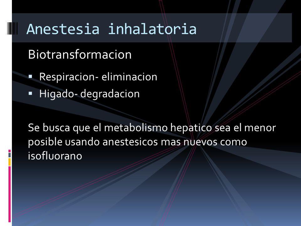 Biotransformacion Anestesia inhalatoria Respiracion- eliminacion Higado- degradacion Se busca que el metabolismo hepatico sea el menor posible usando