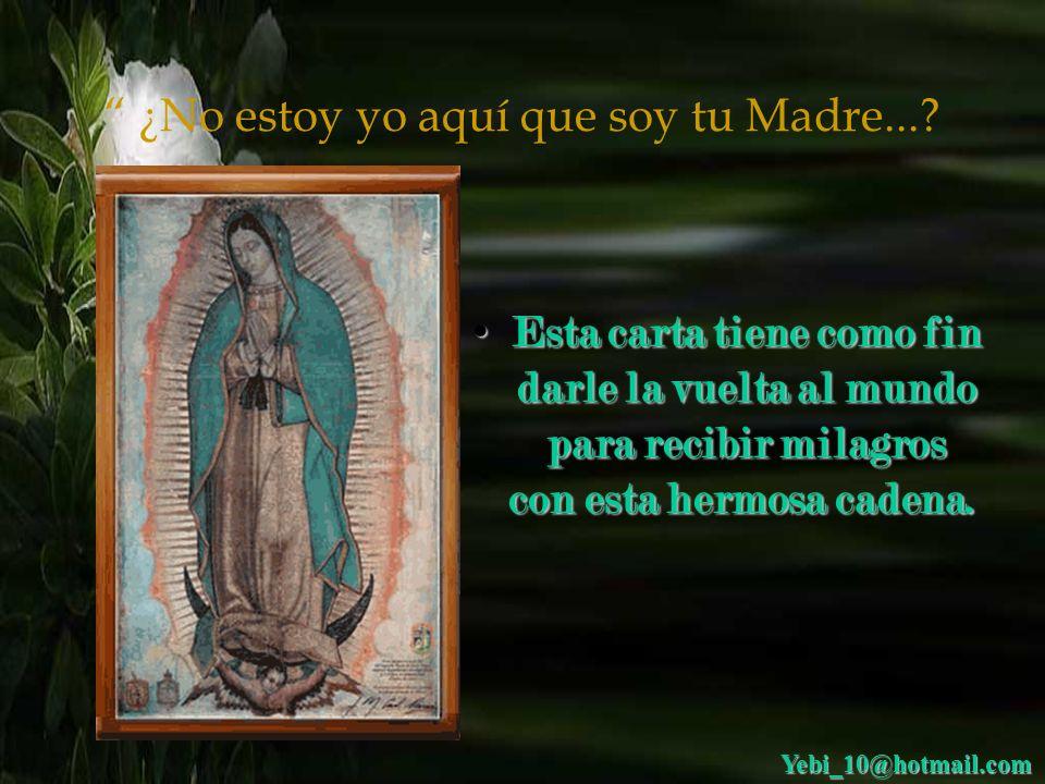 ¿No estoy yo aquí que soy tu Madre...? Queridos hermanos, antes que nada quiero decirles que la Virgen de Guadalupe es buena y milagrosa y siempre nos