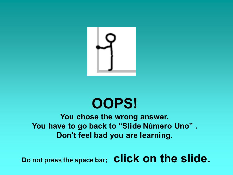 OOPS. You chose the wrong answer. You have to go back to Slide Número Uno.