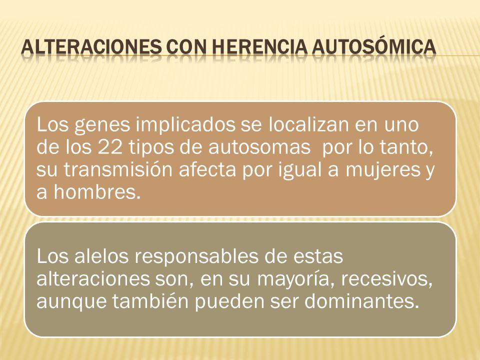 Los genes implicados se localizan en uno de los 22 tipos de autosomas por lo tanto, su transmisión afecta por igual a mujeres y a hombres. Los alelos